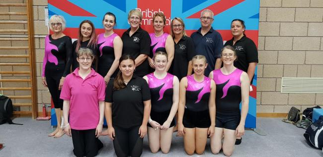 Debra Courtenay-Crane (fourth from left, back row) with her Carterton gymnasts