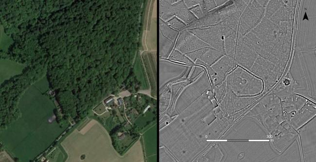 Ariel photo of Greenfield Copse, near Wallingford alongside LiDAR image showing the digital terrain model of the bare earth which allows the detection of archaeology. Pic (left): Google Earth Pic (right) LiDAR image © Chilterns Conservation Board.