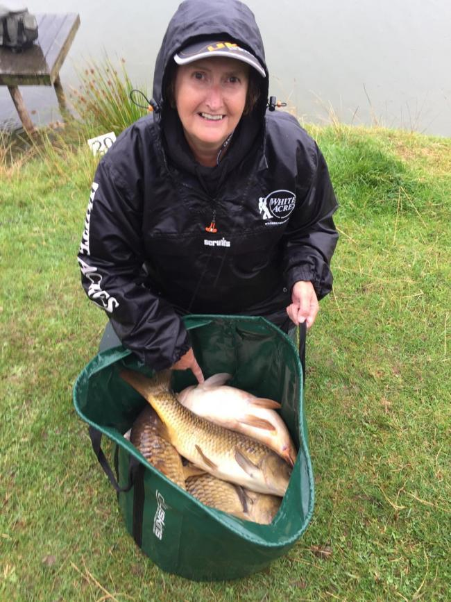 Sue Collins with part of her personal best haul, won the ninth round of the Oxford Carp League