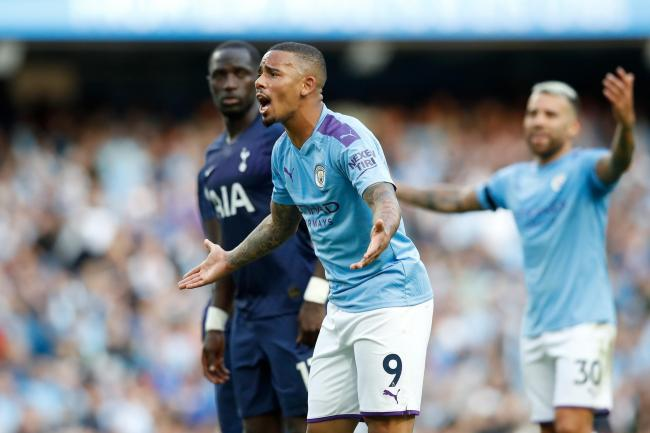 Gabriel Jesus reacts after his goal against Tottenham is disallowed
