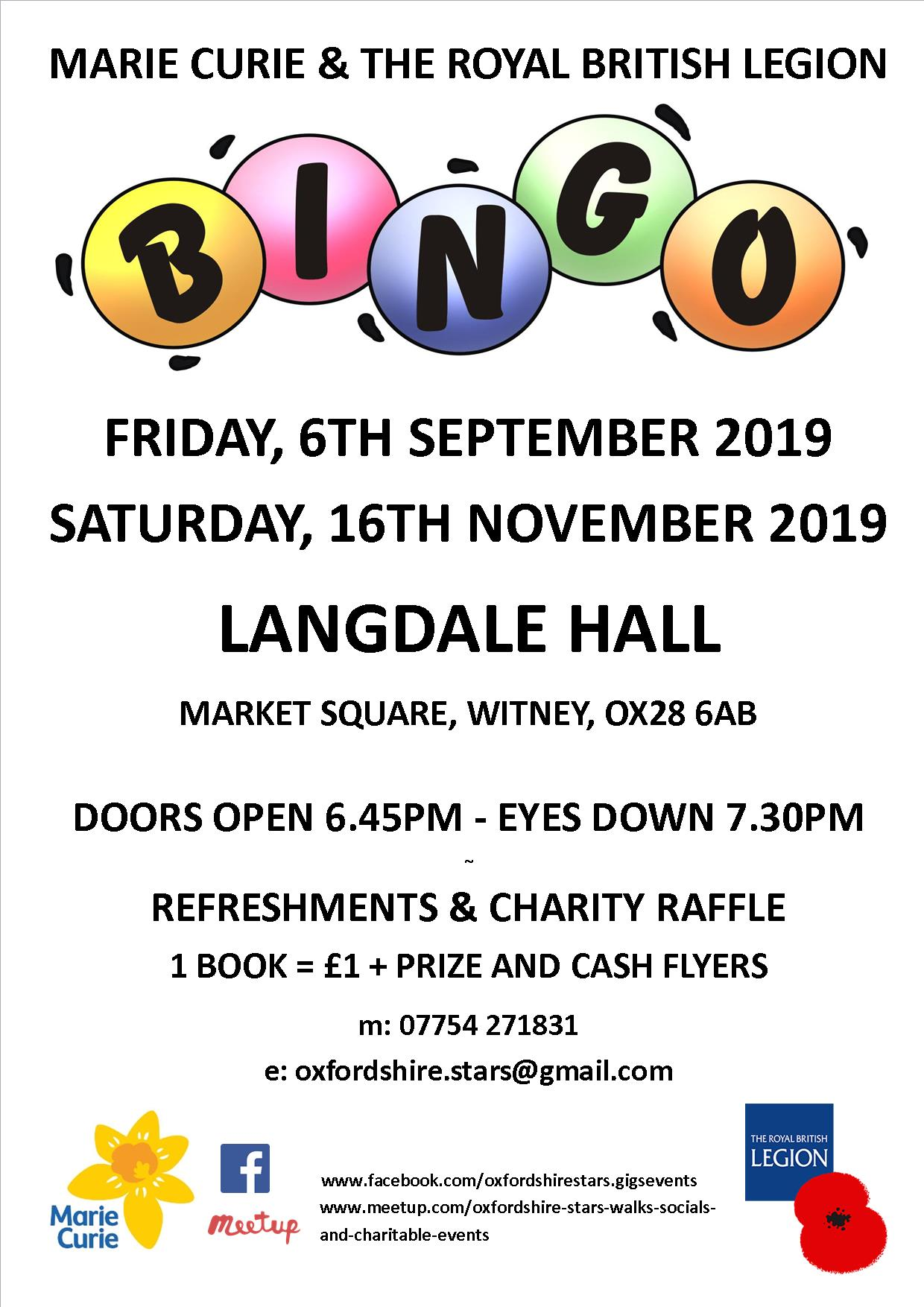 Charity Bingo in aid of Marie Curie & The Royal British Legion