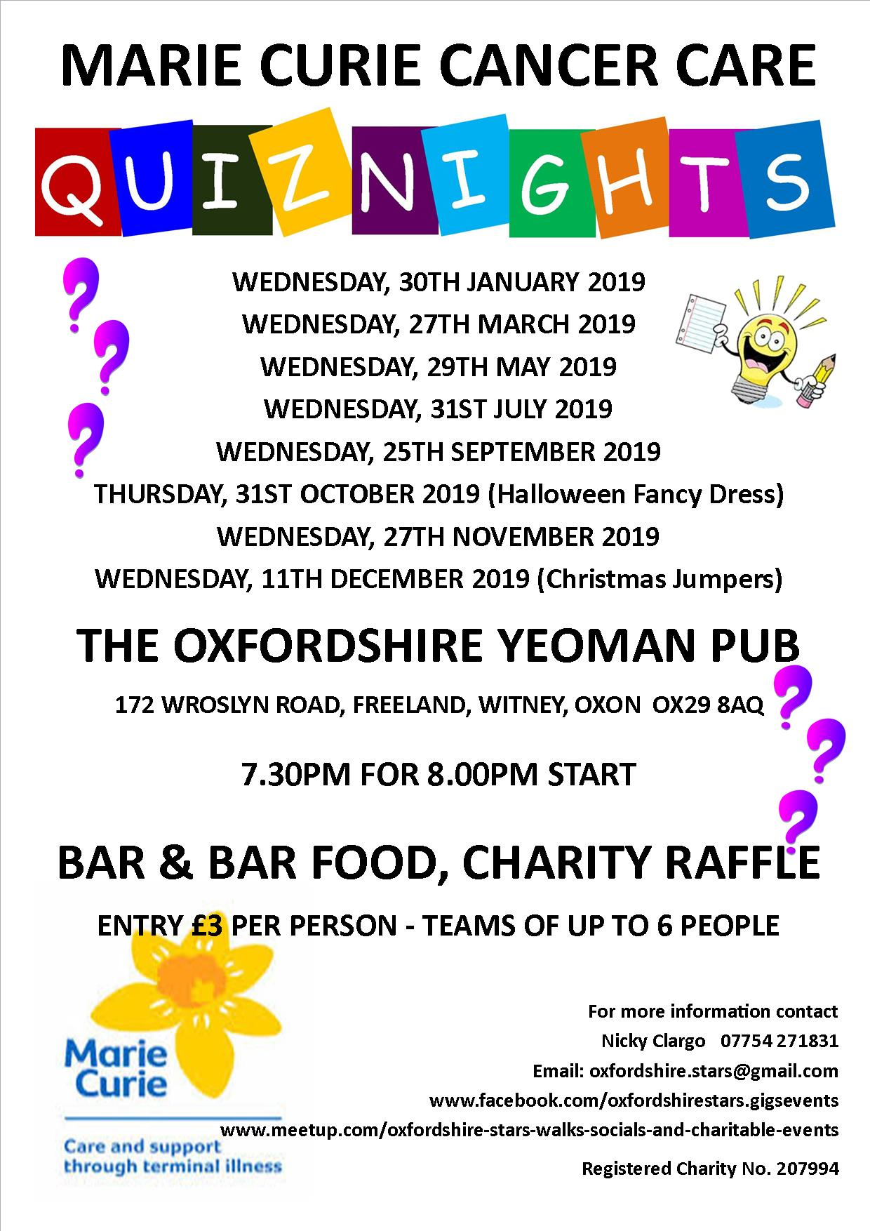 Quiz Night in aid of Marie Curie