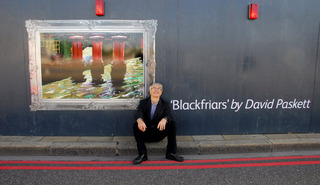 David Paskett with his painting, Blackfriars