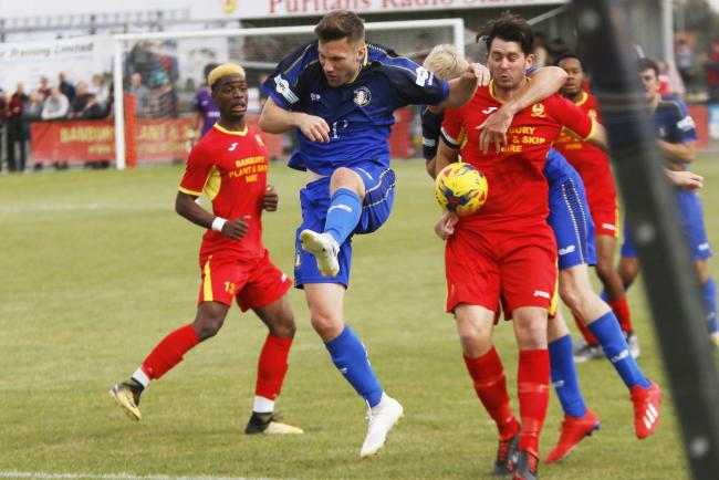 Action from Banbury United's draw with Gainsborough Trinity on Saturday Picture: Ed Nix