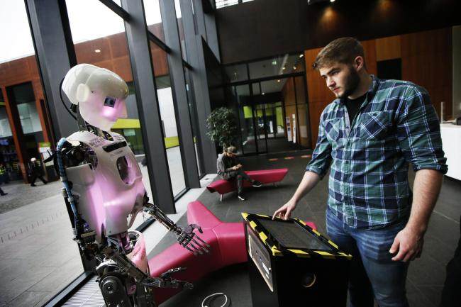 Artie the Oxford Brookes University singing and dancing 'robothespian' entertains visitors to Venturefest 2019 at the university's Headington campus. 		     Picture: Ed Nix