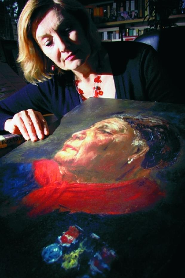 Helen Rappaport with the portrait of Mary Seacole which she discovered  Photograph:  Mark Bassett