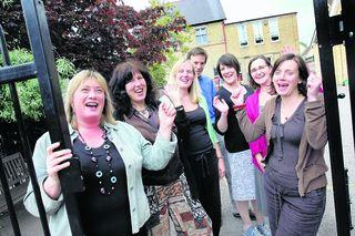 Headteacher Charlotte Haynes, left, and staff at New Hinksey Primary School