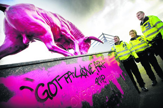 Shocking pink vandals strike at Oxford Utd stadium