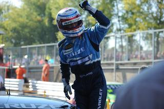 Jason Plato celebrates one of his two wins at Brands Hatch