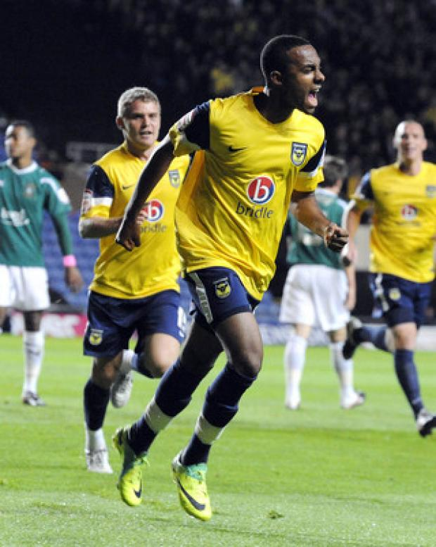 The Oxford Times: Oxford United teenager Rob Hall celebrates the first of his double against Plymouth on Tuesday night