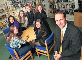 Cherwell School headteacher Paul James with students, from left, Justine Lammin, Esraa Suleiman, Kate Clark, Toby Gray, Nye Rhys Potter and Suzie Law