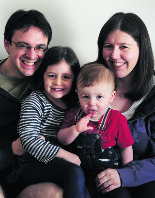 Emma and Simon Dadson with their children, four-year-old Sophie, and Thomas