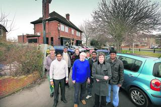 Residents and traders opposed to the Tesco store, including Mick Haines, second from right