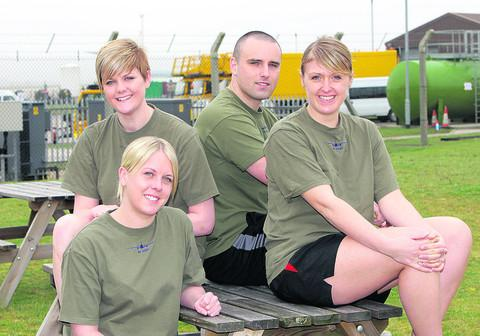 Cabin crew from RAF Brize Norton's 10 Squadron, who will be taking part in the OX5 Run. From left, Senior Aircraftwoman Amee Stewart, SAC Charlotte Weldon, Cpl Alex Tsirtsikos and SAC Vicky Holden