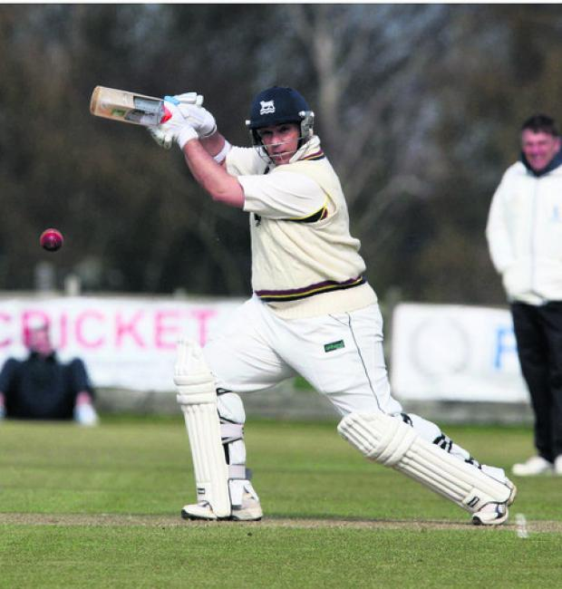 Craig Haupt places one through the covers during his fine 100 for Oxfordshire in their warm-up victory over Buckinghamshire at Aston Rowant yesterday