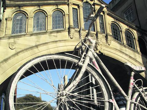 The bike is pictured in and around some of the city's most famous tourist attractions, including the Bridge of Sighs