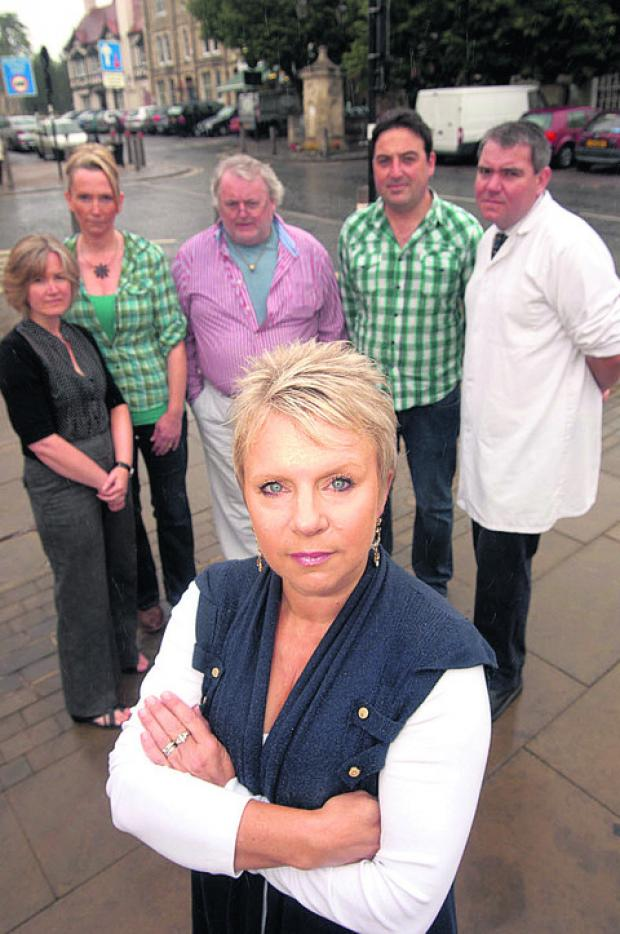Denise Palmer, from Presentation Gifts, with other Faringdon traders opposed to Tesco in the town in 2010