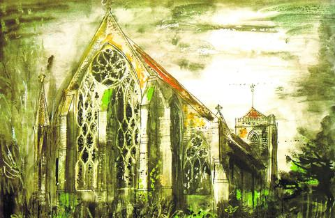 FAVOURITE CHURCH: Dorchester Abbey 1973. Watercolour and mixed media © The PCC of Dorchester Abbey