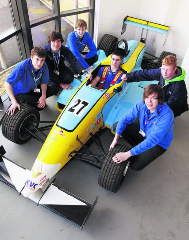 REVVED UP: Jamie Underwood, front right, with fellow Oxford and Cherwell Valley College students
