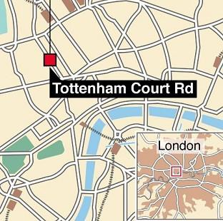 Graphic locates Tottenham Court Road where police have been called to a potential hostage situation