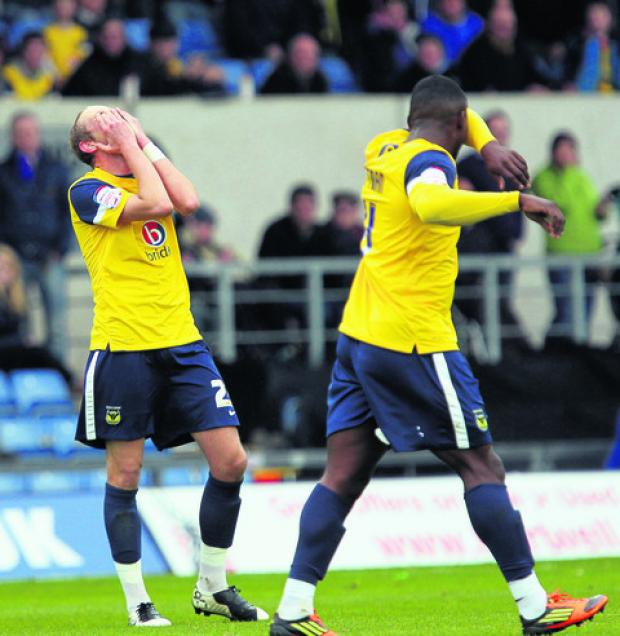 Scott Rendell's expression says it all as Oxford United lose to Southend to leave them on the brink of missing out on a play-off spot