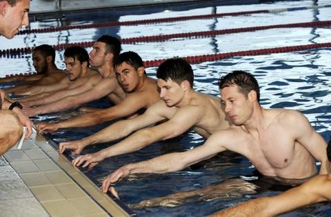 City players, from left, Wayne Blossom, Albi Skendi, Conor McDonagh, Jason Mooney, Adam Learoyd and Steve Basham taking instructions from Chris Adam during a swimming session at the David Lloyd Leisure Centre