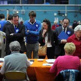 Candidates wait for the results in the Swindon Borough Council elections