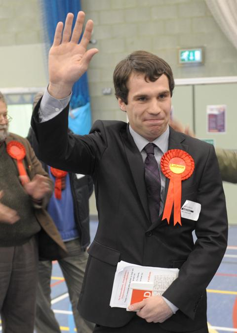 Sean Woodcock celebrates winning for Labour in Banbury Ruscote.