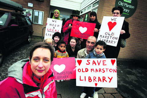 Julia Drown, front, with other campaigners in front of Old Marston Library