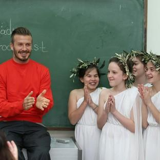 David Beckham visited the Experimental School of the University of Athens