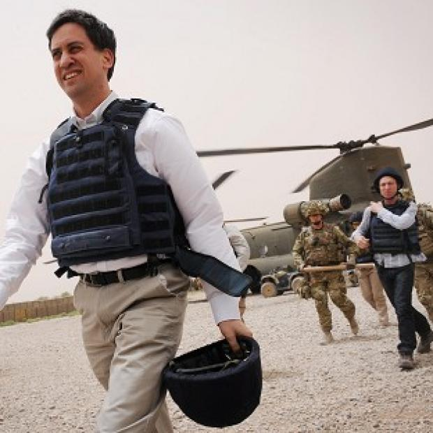 Labour leader Ed Miliband arrives at a patrol base in Nahr-E Saraj in Helmand Province