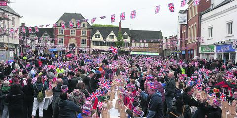 Banbury's Market Place during yesterday's giant Jubilee party