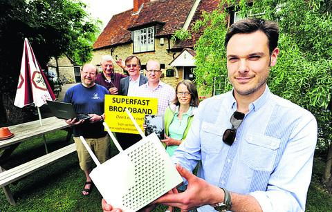 Appleton villagers. From left, Richard Prickett. Graham Rose, David Hine, Ian Bowen-Morris, Anna Yalci and Lee Rennie