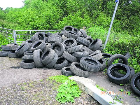 The tyres dumped at Claydon last week