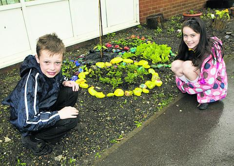 Shaun Fuller and Ella Breach, both aged 10, next to the Olympic garden at St Michael's Primary School. Pictures: OX52469 Antony Moore