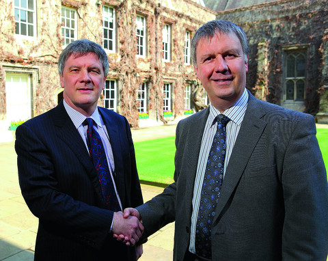 Tim Knowles, bursar of Lincoln College (left) with Steve Bateman of the Co-operative Bank