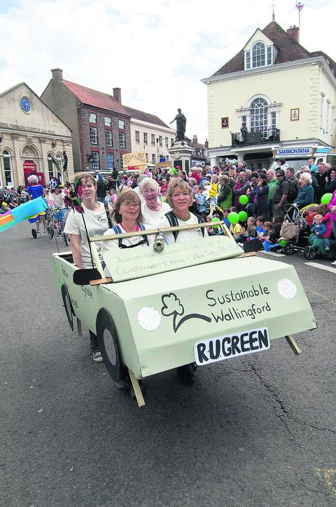Sustainable Wallingford's human powered entry in the carnival parade