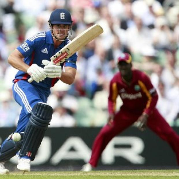 England captain Alastair Cook leads the charge for England against the West Indies