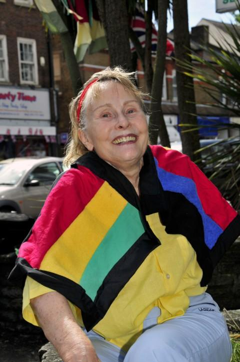 Doreen Gibbs, 73, has become of star of Russian television after making more than 50 Olympic flags.