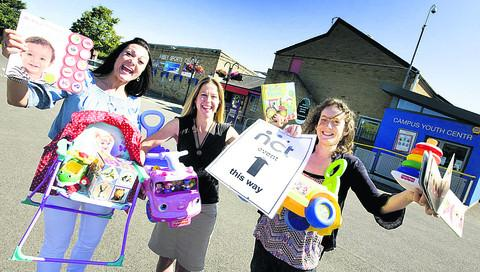 NCT nearly new organisers, from left, Sarah Simmons, Kerry Whitfield and Steph Rorke celebrate outside the Abbey Sports Centre and Youth Club, which has stepped in to help
