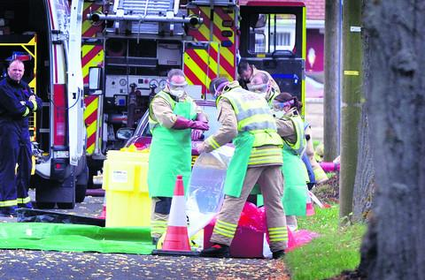 Emergency services at Park Close, Didcot, on August 1 last year. Picture: Denis Kennedy