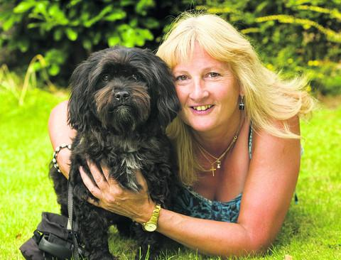 Julie Polley's dog Biff was saved by two rowers after he got into trouble in the Thames. Picture: OX53642 Antony Moore