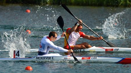 Ed McKeever  of Wiltshire, wins the gold medal for Great Britain in the Canoe Sprint, K1 (Kayak Single) 200m. Eton Dorney Lake, Olympics London 2012. 