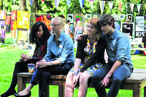 Left to right: exhibitors Christina Hawkes-Blackburn, Vanessa Walters, Lucy Ferguson and Sid Black. Picture: OX53671 Ric Mellis