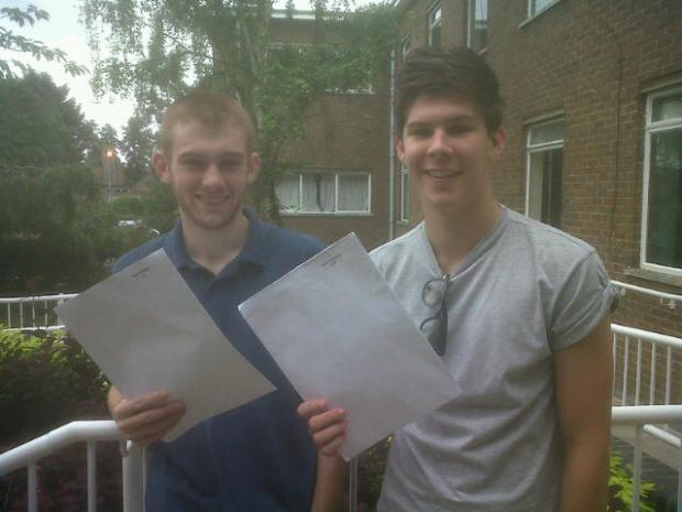 John Mason School's Ben O'Hara, 18, who got three As and an A*, and Josh Sissons, 18, who got three As.
