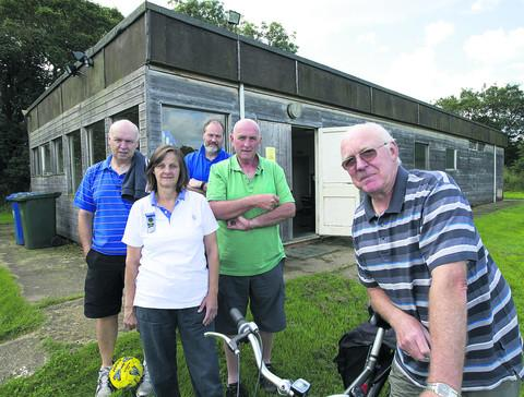 Yarnton residents hoping for a Gannett grant to rebuild the village pavilion, from left, Delroy Evans (youth football), Linda Kimber (Guides and Brownies) Gary Hall (Yarnton FC) Mick Fallows and Fred Jones