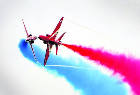 The Red Arrows perform above the Uffington White Horse Show