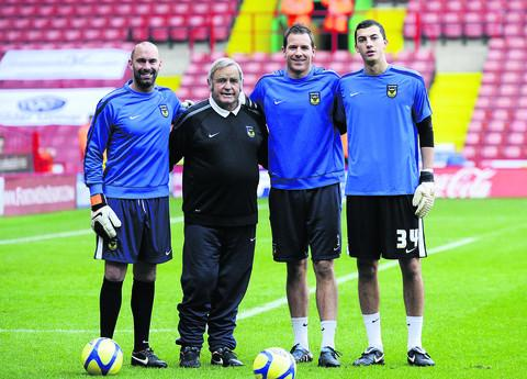 Alan Hodgkinson (second left) with Oxford United's goalkeepers (from left) Wayne Brown, Ryan Clarke and Max Crocombe