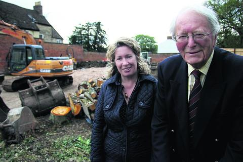 Soldiers of Oxfordshire Museum director Ursula Corcoran and vice chairman Tim May on the site where work has started