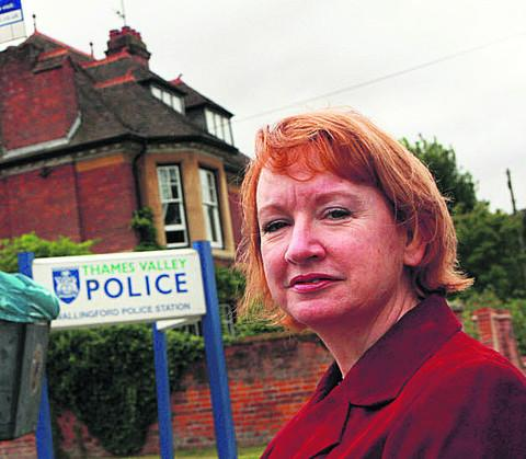 Lynda Atkins outside the police station